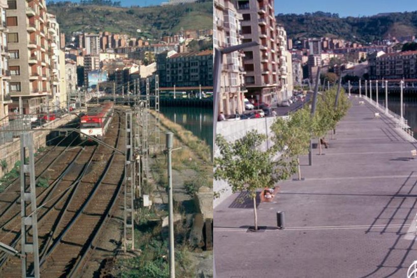 Re-routing of train tracks allowed the development of Bilbao's waterfront
