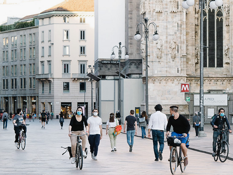 Milan is widening pedestrian paths and transforming 35km of streets into permanent cycling lanes