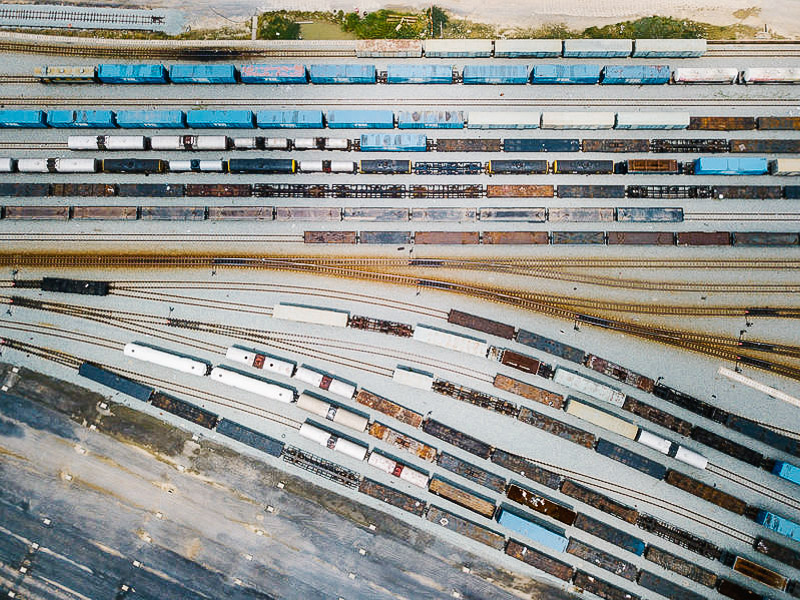 Aerial view of a train yard
